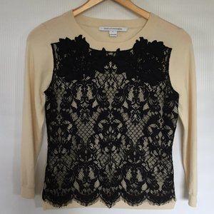 Diane von Furstenberg 3/4 Sleeve Wool Lace Sweater